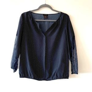 Ann Taylor Navy Microdot Popover Tunic Lace Small